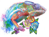 realistic drawing of chameleon