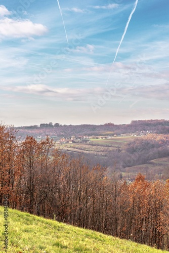 Foto op Plexiglas Cappuccino nature rural landscape with hills and blue sky