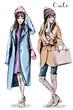 Two fashion women. Hand drawn stylish beautiful women in winter clothes. Fashion winter outfits. Sketch.