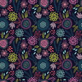 Seamless floral pattern on the dark background - 185856948