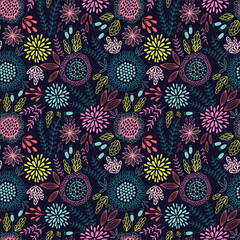Seamless floral pattern on the dark background