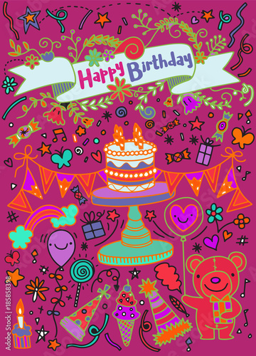 Birthday party doodles and love confession signs. Isolated vector set.