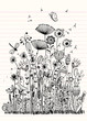 Vintage decorative plants and flowers collection. Hand drawn vec