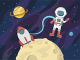 Astronaut in space against the background of stars and planets. Vector illustration. - 185861567