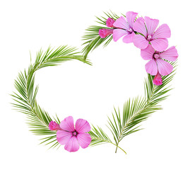 Palm leaves heart shape arrangement with pink wild flowers