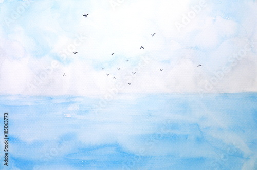 watercolor landscape sea and sky with birds © atichat