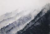 watercolor landscape mountain fog  asian art styles