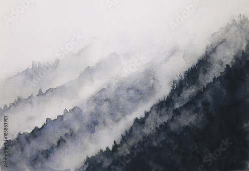 watercolor landscape mountain fog  asian art styles © atichat