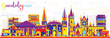 Abstract Guadalajara Mexico City Skyline with Color Buildings. - 185864739