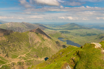 View from the summit of Mount Snowdon, Snowdonia, Gwynedd, Wales, UK - looking north at Bwlch Goch, the Pyg Track and the Miner's Track