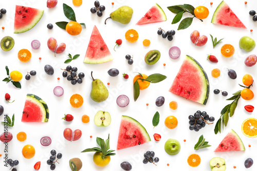 Various vegetables and fruits isolated on white background, top view, flat layout. Concept of healthy eating, food background.  - 185872194