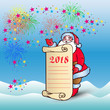 Postcard, Santa Claus with blank sheet of parchment for congratulations and invitation for 2018, cartoon on blue background and salute