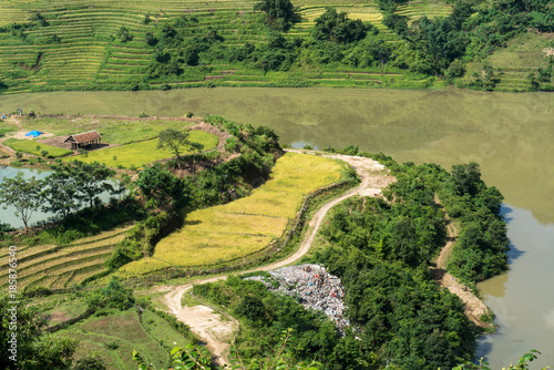 Fotobehang Meloen Terraced rice field landscape of Y Ty, Bat Xat district, Lao Cai, north Vietnam
