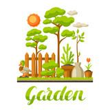 Garden landscape illustration with plants. Season gardening concept - 185877504