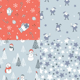 4 seamless patterns with New Year theme. Snowmen, Santa helpers, stars and other stylized childrens illustrations.