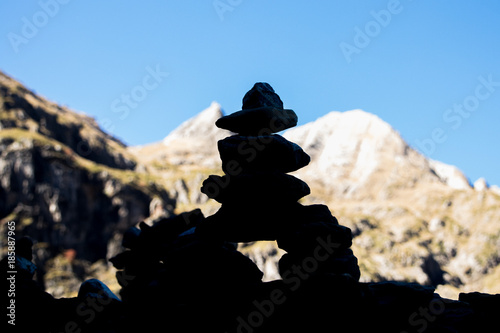 Foto op Canvas Zen Stones piled up in the mountain