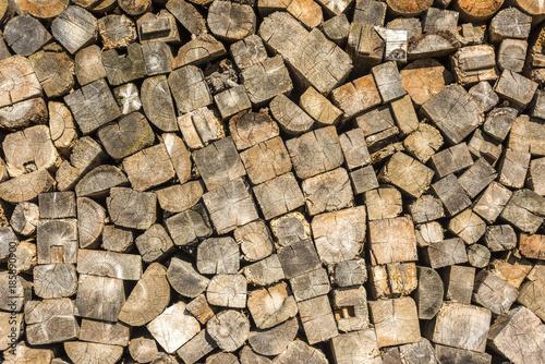 Foto op Aluminium Brandhout textuur Ein Holzstapel als Hintergrund