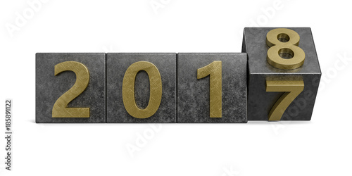 Gold golden 2017 box rotating to 2018 metal texture. New Year concept Isolated on white background. 3D Rendering, Illustration.
