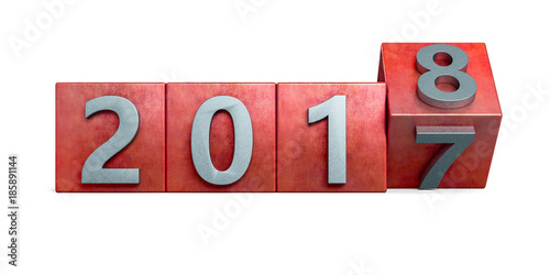 Red 2017 box rotating to 2018 metal texture. New Year concept Isolated on white background. 3D Rendering, Illustration.