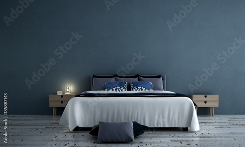 3D rendering interior design of minimal bedroom and concrete wall texture background