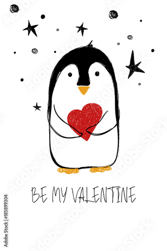 Love Card With Cute Penguin.