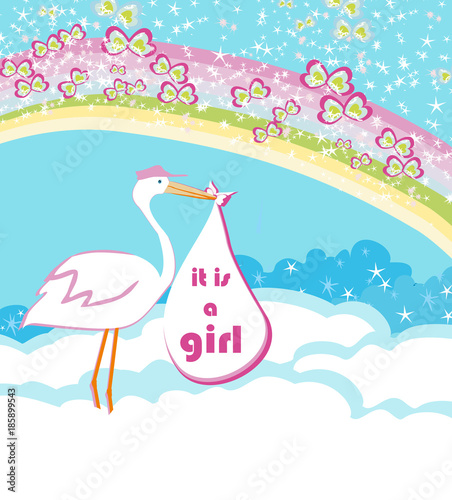 Baby girl Card - A stork delivering a baby girl - 185899543