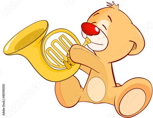 Plexiglas Babykamer Illustration of a Stuffed Toy Bear Cub Trumpeter. Cartoon Character