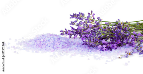 Lavender with sea salt isolated on white background
