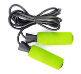 Green jump rope or skipping rope isolated on white background. Sports, fitness, cardio, martial art and boxing accessories. - 185903925