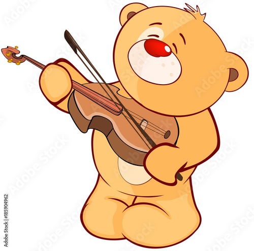 Plexiglas Babykamer Illustration of a Stuffed Toy Bear Cub Violinist. Cartoon Character