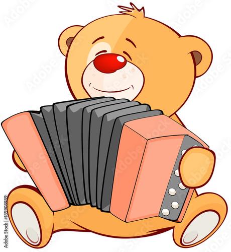 Plexiglas Babykamer Illustration of a Stuffed Toy Bear Cub Accordionist. Cartoon Character