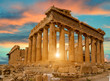 parthenon athens greece sun beams and sunset colors