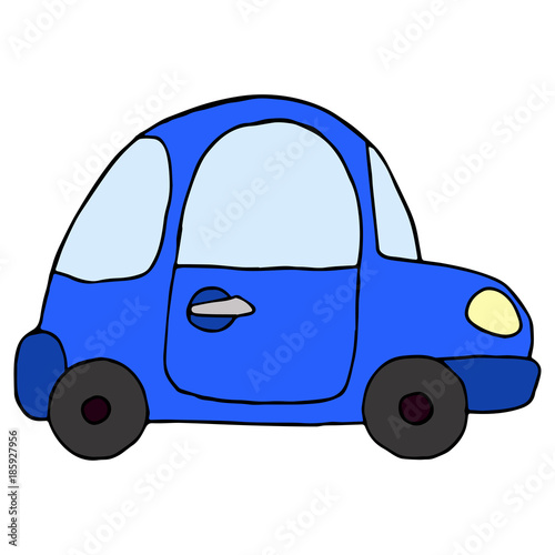 Aluminium Auto Cartoon retro blue car isolated on white background. Vector illu