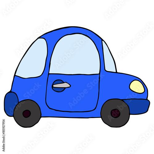 Fotobehang Auto Cartoon retro blue car isolated on white background. Vector illu