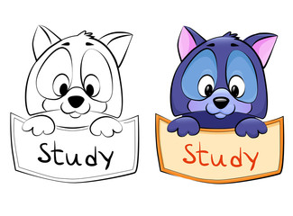 Cartoon pet - Frame in two variations - line art and in color