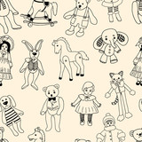 pattern of the various old toys