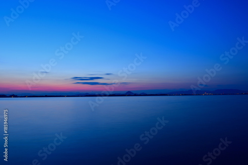 Aluminium Nachtblauw 夜明け前の琵琶湖