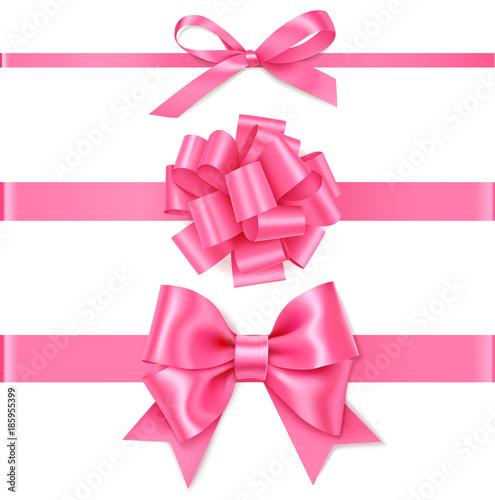 Zestaw ozdobny różowy łuk z poziome różową wstążką na prezent wystrój. Realistyczny wektor łuk i wstążki na białym tle