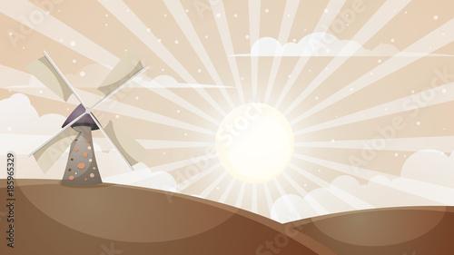 Fotobehang Boerderij Cartoon hot landscape. Mill, cloud, sun.