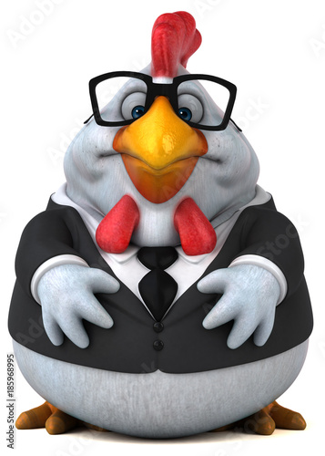 Fun chicken - 3D Illustration - 185968995