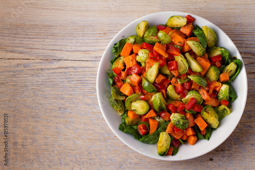 Foto op Canvas Brussel Roasted vegetable salad. View from above, top, horizontal