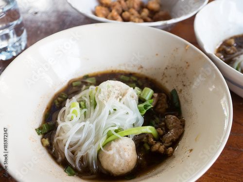 Thai rice noodle in thick soup with pork