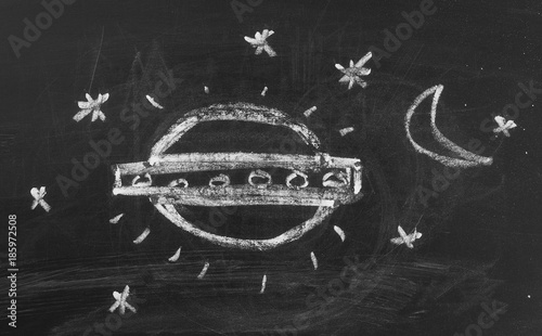 Canvas UFO Flying saucer, UFO on chalkboard, blackboard background and texture