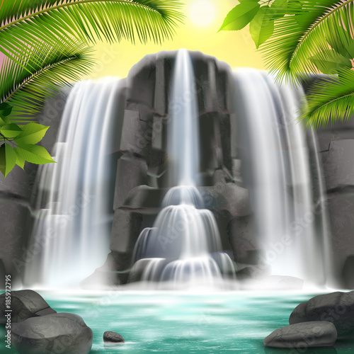 Waterfall Realistic  Background - 185972795