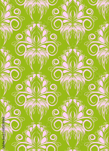 Vector damask seamless pattern background. Elegant luxury texture for wallpapers and page fill. ornament on the background. for fashion textile and fabric. - 185974964