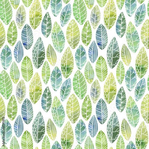 Fototapeta seamless pattern with decorative leaves