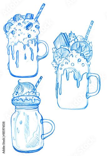Foto op Plexiglas Milkshake sketch of milkshakes