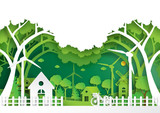 Green eco city and urban landscape of environment conservation concept.Nature green background paper art style.Vector illustration. - 185976310