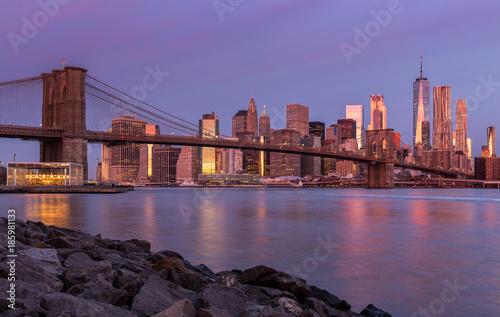 Fotobehang Brooklyn Bridge Sunrise in NYC