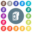 Ink cartridge flat white icons on round color backgrounds